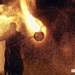 Spettacolo di giochi di fuoco realizzati da I Cavalieri della Torre Antica e l'incendio della rocca a Montagnana (PD)